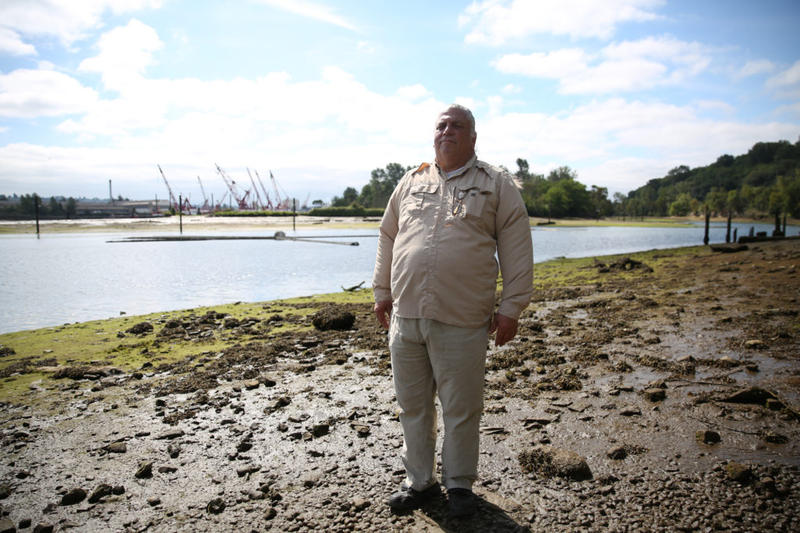 James Rasmussen, director of the Duwamish River Cleanup Coalition and member of the Duwamish Tribe, stands on the bank of the river inside Seattle's Herring's House Park.