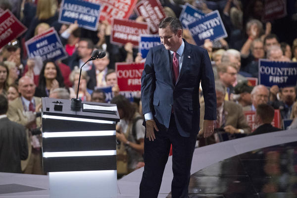 Sen. Ted Cruz leaves the stage after speaking during the Republican National Convention on Wednesday.